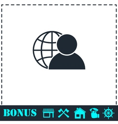 Network administrator icon flat vector