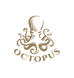 Octopus logo - emblem design vector
