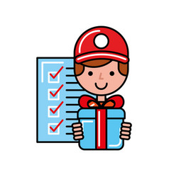 operator with gift box checklist online shopping vector image