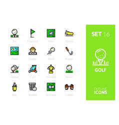 outline color icons set vector image