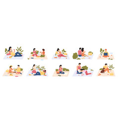 people at picnic outdoor meals men and women vector image