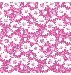 Pink and white floral silhouettes seamless pattern vector image vector image