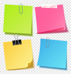 Realistic colorful blank sticky notes with clip vector