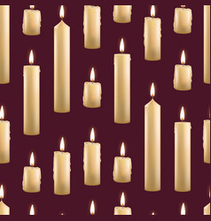 realistic detailed 3d burning wax candles seamless vector image