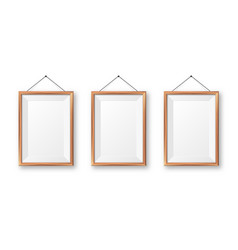 Realistic hanging on a wall blank wooden picture vector