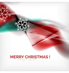 Red Christmas blurred waves and snowflakes vector image