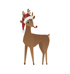 reindeer in red santa claus vector image