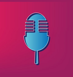 retro microphone sign blue 3d printed vector image