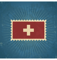 Retro Switzerland Flag Postage Stamp vector image vector image