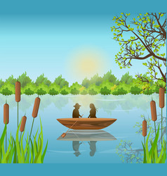 romantic couple lake background vector image