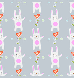 Seamless pattern funny cartoon rabbit with vector