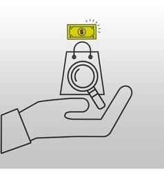 Searching bag shop money design vector