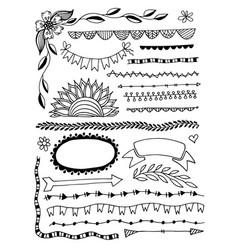 set hand drawing sketch doodle divider decor vector image