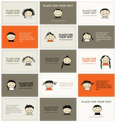 Set of business cards with faces for your design vector
