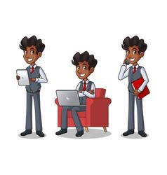set of businessman in vest working on gadgets vector image