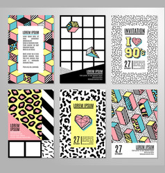 set of cards and banners in 80s-90s memphis style vector image