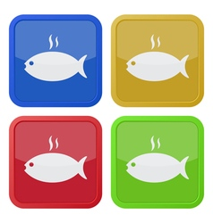 set of four square icons grilling fish with smoke vector image