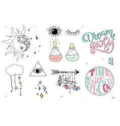 set of hand drawn boho design elements vector image