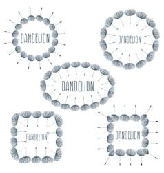 Set of labels fluffy dandelion flower vector