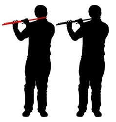 Silhouette of musician playing the flute vector