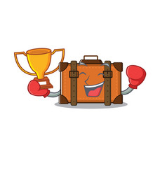 Suitcase with in cartoon boxing winner shape vector