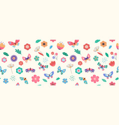 summer seamless pattern banner with butterflies vector image