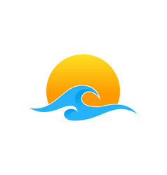 Sun wave logo icon design vector