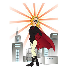 superheroine and buildings vector image vector image