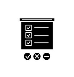 survey list black icon sign on isolated vector image