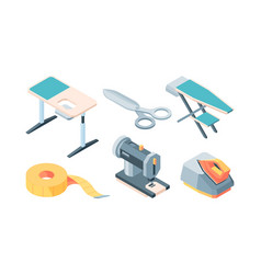 Tailor accessories isometric set equipment sewing vector
