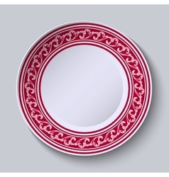The circular red pattern with empty space in the vector