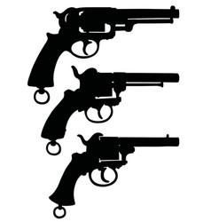 three silhouettes retro revolvers vector image