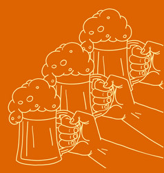 toast at a party foam beer in a mug vector image
