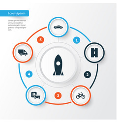 Transportation icons set collection of spaceship vector