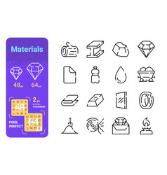 Types materials line icons set vector