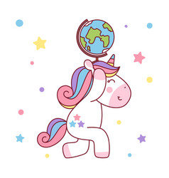 unicorn holding up world globe vector image