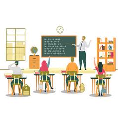 University students listen to professors lecture vector