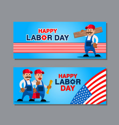 us labor day greetings banner vector image