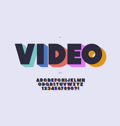 Video font 3d bold color style vector