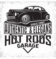 Vintage hot rod emblem design vector