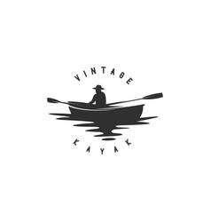 vintage kayak silhouette vector image