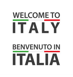 welcome to italy symbol with flag simple modern vector image