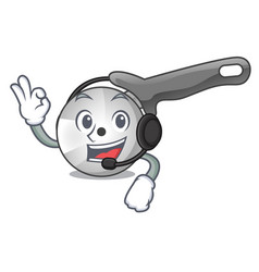With headphone pizza cutter knife isolated on vector