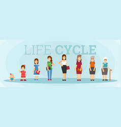 Woman character life cycle vector