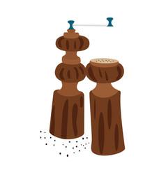 wooden pepper and salt grinder vector image