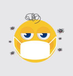 yellow emoji wearing a medical mask vector image
