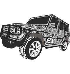 zebra offroad car vector image