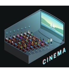 Cinema Interior View Isometric Composition Poster vector image vector image