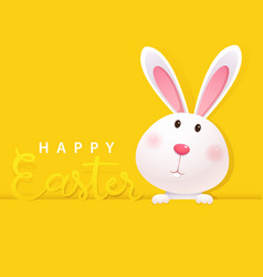 greeting card with white easter bunny vector image vector image
