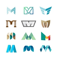 Letter M logo set Color icon templates design vector image vector image